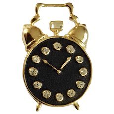 Crystal Rhinestones in Alarm Clock Black and Gold-Tone Brooch Pin