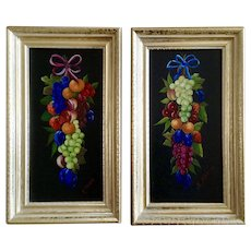 K Slanina, Pair of Fruit Still Life Oil Paintings on Board Signed by Artist