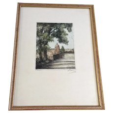 Kalle Atturi Havas, St Peter's Basilica Hand Colored Dry Point Etching Signed by Italian Artist Rome