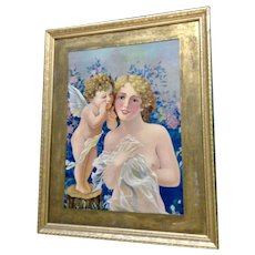 Cupid Talking to a Gorgeous Woman Vintage Chromolithograph Signed in Matrix A.H.