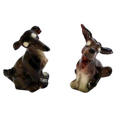 PY Miyao Coyote Dog Salt and Pepper Shakers with White Eyes Ceramic S & P 1950's Animal Figurines