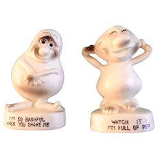 Comical Nutty Ghostly Salt and Pepper Shakers I'm So Bashful and Full of Pep Porcelain S&P Figurines Japan 1960's
