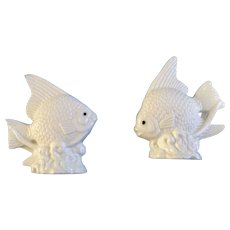 Angel Fish Salt and Pepper Shakers White Porcelain S&P figurines