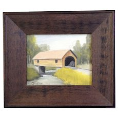 Stanton, Covered Bridge Small Landscape Oil Painting Signed by Artist
