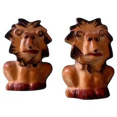 Salt & Pepper Shakers Lion Animal with Cork Stoppers Vintage Retro Mid-Century Japan