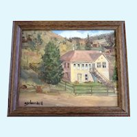 E. J. Churchill, A Large Homestead Ranch House, Oil Painting