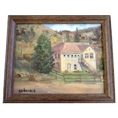 E. J. Churchill, A Large Homestead Ranch House, Oil Painting on Canvas Signed By Artist 1969