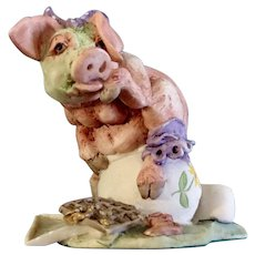 Schmid / Border Fine Arts Did You Ever See a Pig?  Red Oak II General Store Exclusive Figurine Retired Hog on a Chamber Pot