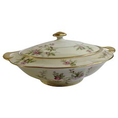 Sylvia Cream Rim Pilgrim by Theodore Haviland Limoges France Pink Flowers Round Covered Vegetable Casserole Dish