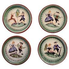 Vintage Austrian Terra-cotta Coaster Hunting and Dancing Folk Art Hand Painted Austria