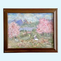 Pink Flowering Landscape Acrylic Painting Initialed