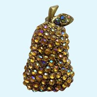 Gorgeous Aurora Borealis Rhinestone Pear Fruit Pin