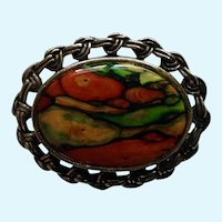 Warm Silver-tone Fall Colors Autumn Pin Brooch