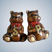 Bear Salt and Pepper Shakers Treasure Craft Vintage HTF Hard to Find Large Mid-Century