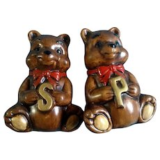 Bear Salt and Pepper Shakers Treasure Craft Vintage HTF Hard to Find Large Mid-Century