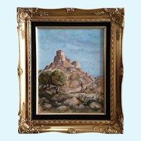 Vi Vosburg, Bagpipes Around The Citadel Castle Landscape Oil Painting