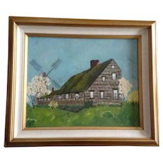 Erna Evans (1912-1987) Home Sweet Home Farmhouse with Windmill Primitive Oil Painting on Canvas