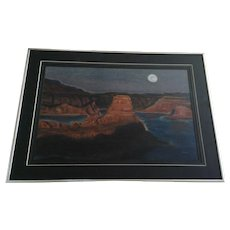 Gunsight Butte Lake Powell In Moonlite Desert Landscape Pastel Painting