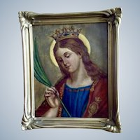 Saint Catherine of Alexandria Icon Holding Palm Branch 19th Century Oil painting on Canvas