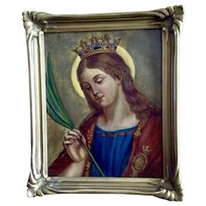 Mary Icon Holding Palm Branch 19th Century Oil painting on Canvas