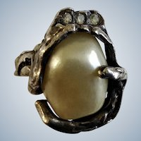 Vintage  1970's Jonathan Bailey for Trifari, Sculpturesque Baroque Faux Pearl Ring Rare Silver-tone Color