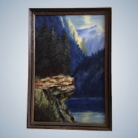 E Busk, Yosemite Valley Original Oil Painting on Board Signed by Artist  1920's