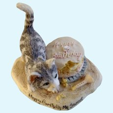 Lowell Davis RFD America Figurine Schmid / Border Fine Arts Cats in Season Happy Birthday My Sweet Cat 27560 Retired 1992 Birthday Cake with Cat