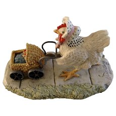 Lowell Davis Little Critters Figurine Schmid / Border Fine Arts The World Of The Little Critters Collection 225-516 Double Yolker Retired Chicken with Baby Carriage