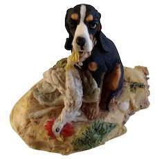 Lowell Davis RFD America Figurine Schmid / Border Fine Arts  225-304 First Offense, Retired Hound Dog With Dead Chicken Tied Around Neck