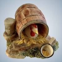 Lowell Davis RFD America Figurine Schmid / Border Fine Arts  225-232 Woman's Work, Retired Chicken Sitting on Nest in Barrel