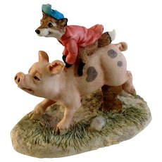 Lowell Davis RFD America Figurine Schmid / Border Fine Arts The Fox Fire Farm Set Collection 21008 Hog Wild Fox Riding on Back of Hog Pig