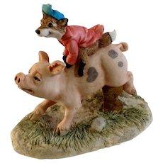 Lowell Davis RFD America Figurine Schmid / Border Fine Arts The Fox Fire Farm Set Collection 21008 Hog Wild Fox Riding on Back of Hog Pig
