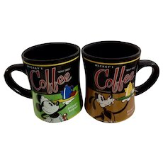 Disney Mugs Mickey's Minnie Mouse & Goofy Really Swell Coffee 20 Ounce Cups Theme Perks Collector's Edition Retired Design