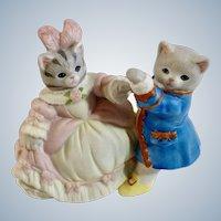 Schmid Kitty Cucumber Cat Cinderella & Prince Albert Time for the Ball B. Shackman Sri Lanka 1990 Porcelain Figurine