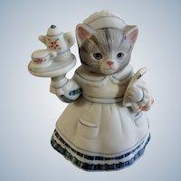 Schmid Kitty Cucumber Cat Waitress with Menu B. Shackman Sri Lanka 1990 Porcelain Figurine