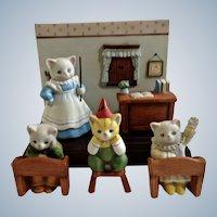 Kitty Cucumber Cat School Classroom Figurine Set Schmid, B. Shackman Sri Lanka 1990 Porcelain