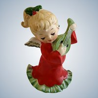 Vintage Lefton Christmas Angel Girl Playing Lute Guitar #2543 Porcelain Figurine Made in Japan