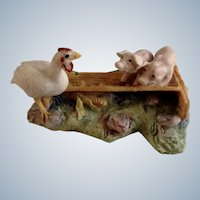 Lowell Davis RFD America Figurine Schmid / Border Fine Arts  225-224 Two's Company (Guinea Hen), Retired Pigs Eating in Trough with a Hen