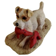 Lowell Davis RFD America Figurine Schmid / Border Fine Arts  225-296 Seein' Red, Retired Dog Chewing Red Shoes