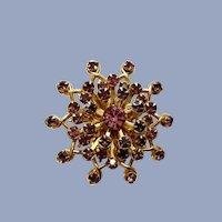 Beautiful Gold Tone Pink & Purple Sparkle Rhinestone Swirl Brooch Pin