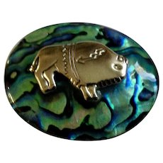 Native American Silver-Tone Buffalo with Arrow Set in Abalone Shell Pin Brooch