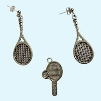 Tennis Racket Silver-Tone Pierced Earrings and Matching Charm Set