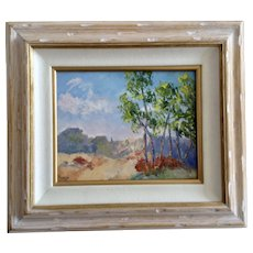 Anthony (Tony) P. Menditto (1922-2007), Impressionistic Trees and Mountain Plein Air Landscape Oil Painting Signed by Artist