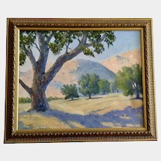 Anthony (Tony) P. Menditto (1922-2007), Oak Trees and Rolling Foothills on Vista Ranch California Plein Air Landscape Oil Painting Signed by Artist
