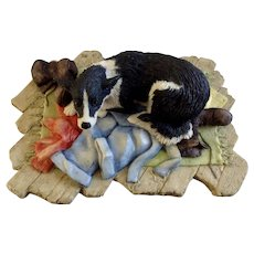 Lowell Davis RFD America Figurine Schmid / Border Fine Arts, His Master's Dog Black & White Version 225-244