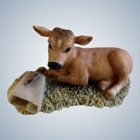 Baby Cow Blossom #225-227, Lowell Davis RFD America Figurine Schmid / Border Fine Arts,  1981 Little Calf Laying Next to a Cow Bell