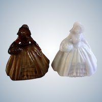Boyd Art Glass Colonial Lady Figurines White and Brown Miniature 2-1/2 Inch