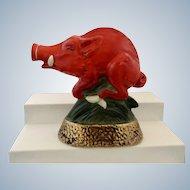 Arkansas Red Razorback Boar Hog Jim Beam Decanter Bottle Ezra Brooks Heritage China 1969