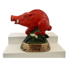 Arkansas Red Razorback Boar Hog Jim Beam Decanter Bottle Ezra Brooks Heritage China 1969