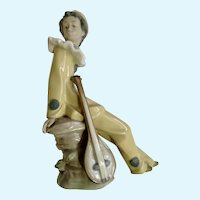 Lladro Nao Traveling Clown Jester With Lute 1987 Retired Porcelain Figurine
